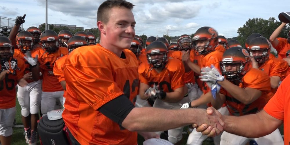 Ryan Kovacs of Somerville is Presented with Courtney's Week 2 Game Ball