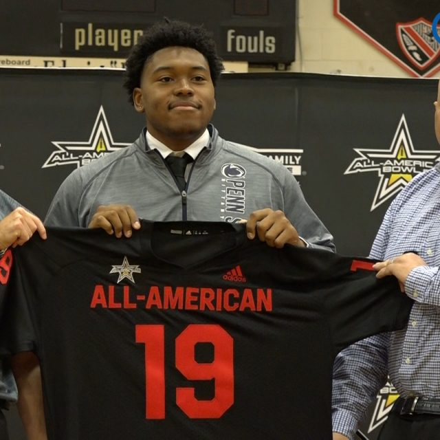 4-star OL Caedan Wallace Receives his All-American Jersey
