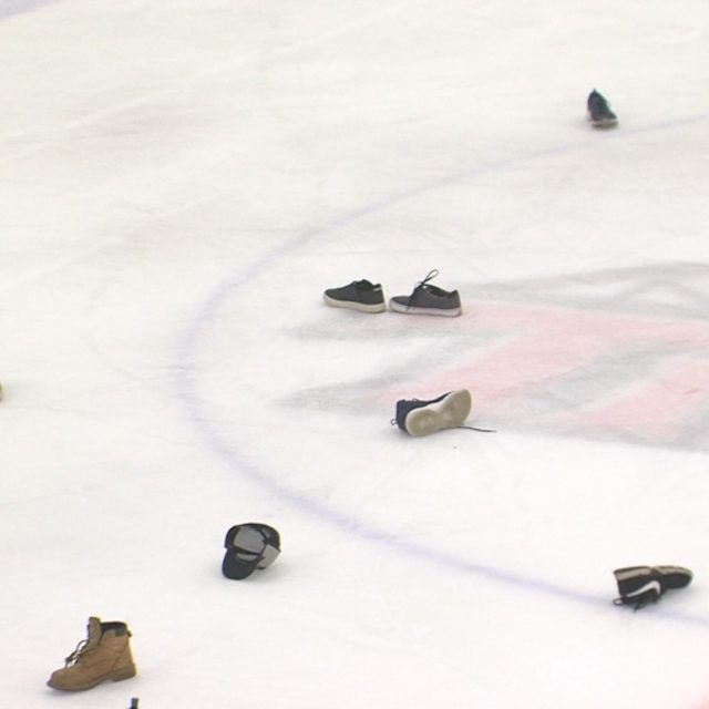 "Why are shoes on the ice in Middletown?  It's a ""shoe trick"" for Demitri Forand!"