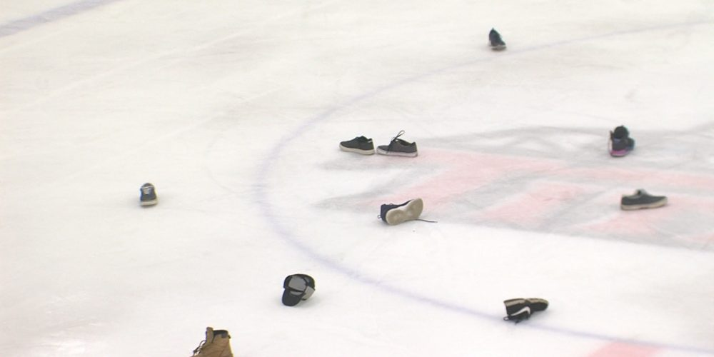 """Why are shoes on the ice in Middletown?  It's a """"shoe trick"""" for Demitri Forand!"""